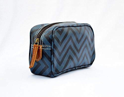 Blu borsa, trousse, chevron laminata, finiture in pelle, make up o per cosmetici, borsello.
