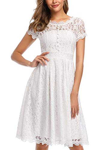 Owin Women's Retro Floral Lace Cap Sleeve Vintage Swing Bridesmaid Dress (XXL, White) (Short Lace 3 4 Sleeve Wedding Dress)