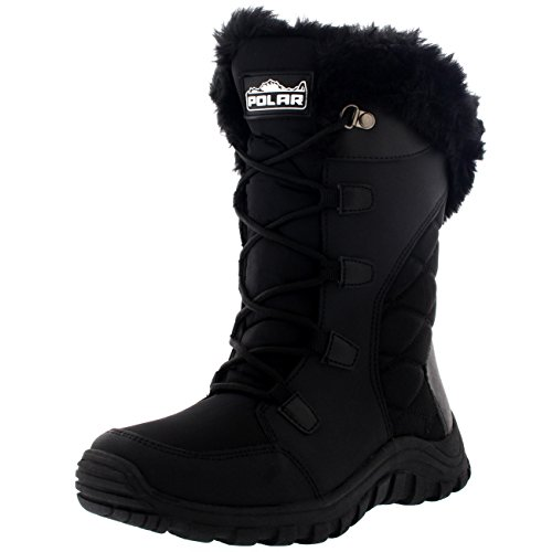 Womens Quilted Lace Up Black Outdoor Snow Rain Duck Boot - 8 - BLK39 (Black Outdoor Boots)