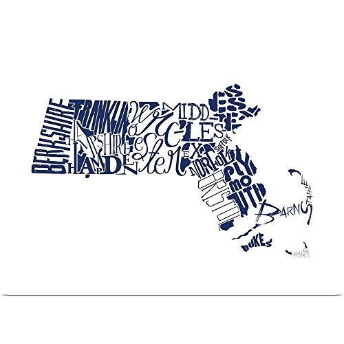 GREATBIGCANVAS Poster Print Entitled Massachusetts Typography map by Jace Grey 40