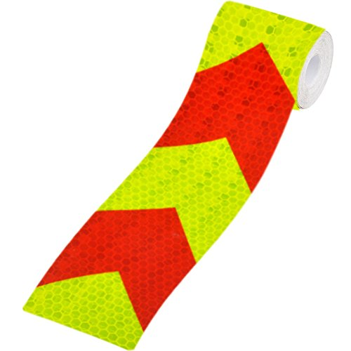 LAY'S PVC Arrow Safety Reflective Warning Tape Film Waterproof Sticker for Car Truck MotorBike Bicycle (Red+Fluorescent)
