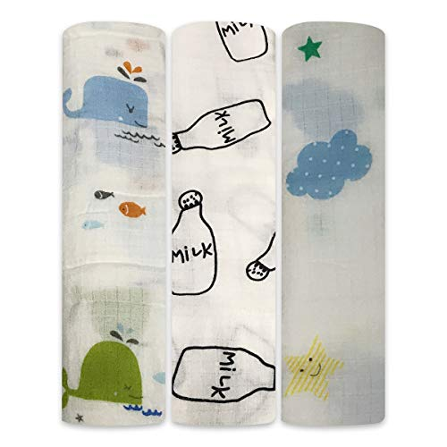 Boy and Girl 100% Cotton Swaddle Blanket, Cute Baby Bamboo Muslin Blankets for Large Size 47 x 47 inches (Summer Tale)