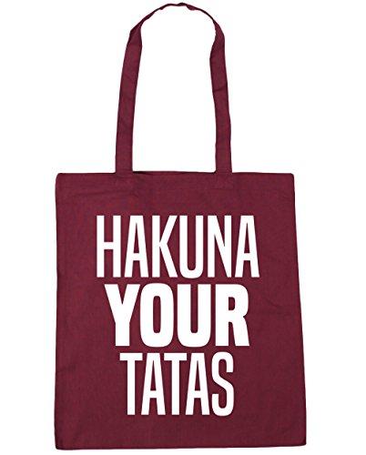 HippoWarehouse Hakuna Your Tatas Einkaufstasche Fitnessstudio Strandtasche 42cm x38cm, 10 liter - Weinrot, One size