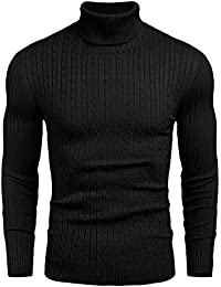 Mens Slim Fit Turtleneck Sweater Cable Knit Thermal Pullover Sweater