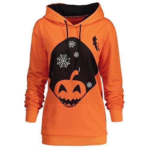 Price comparison product image Women Halloween Pumpkin Pocket Drawstring Printed Hoodie Sweatshirt - vermers Women Casual Long Sleeve Hooded Tops(XL,  Orange)