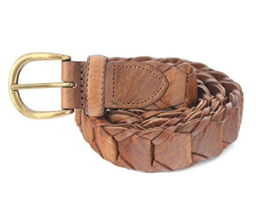 768-TAN- Men's Casual Vintage Tan Genuine Cowhide Full grain Leather Link Belt (34(fits 32