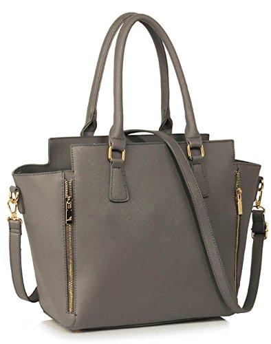 ANNA GRACE - Bolso de tela de piel sintética para mujer Design 1 - Grey