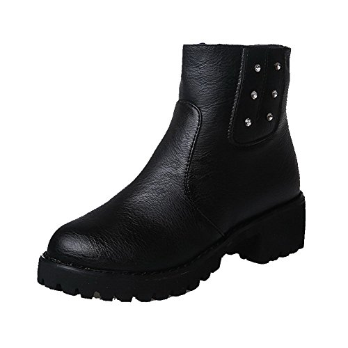de Rounded alto con negras Toe de sólidas mujeres PU Allhqfashion botas tacón alto tacón botines para wTBUqvq