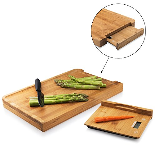 Gourmia GKS9140L Cutting Board Digital Scale Bamboo Food Prep Board With Removable Bamboo Kitchen Scale 17.5