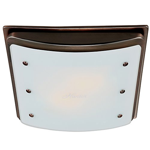 Hunter 90065 Ellipse Bathroom Ventilation Exhaust Fan with Light and Swirled Marble Glass, Imperial Bronze - Imperial Bronze Vanity