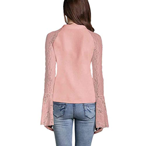 Women's T Lace V shirt Bottoming Perspective Blouse Trumpet Rosa Sleeve neck Jutoo Casual 2019 5UBWAA