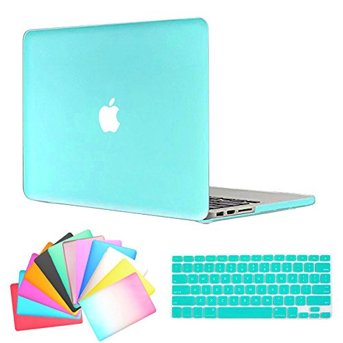 MacBook Air 13 Inch Case,Anrain AIR 13-inch Rubberized See Through Hard Shell Snap On Case Cover with Keyboard Cover For Apple MacBook Air 13.3 (Models: A1466 A1369),Turquoise Blue