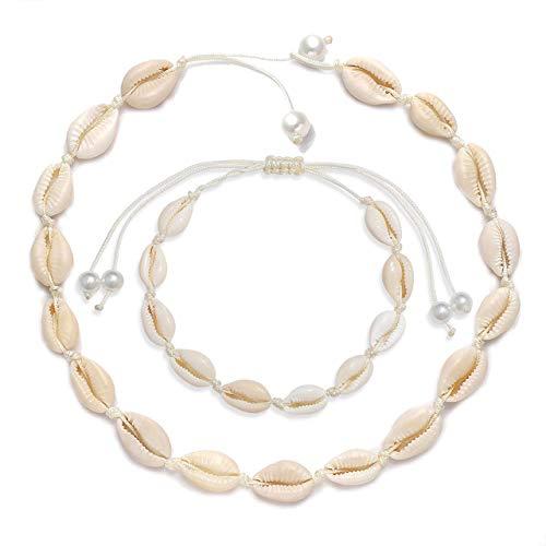 HEIDKRUEGER Natural Shell Choker Necklace Handmade Adjustable Cowrie Collar Boho Hawaii Summer Beach Necklace for Women Girls (White Necklace+Adjustable Anklet)