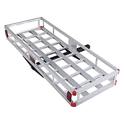 "Goplus 60"" x 22"" Aluminum Hitch Mount Cargo Carrier Luggage Basket Rack for SUV, Truck, Car, 500LBS"