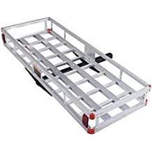 """Goplus 60"""" x 22"""" Aluminum Hitch Mount Cargo Carrier Luggage Basket Rack for SUV, Truck, Car, 500LBS"""