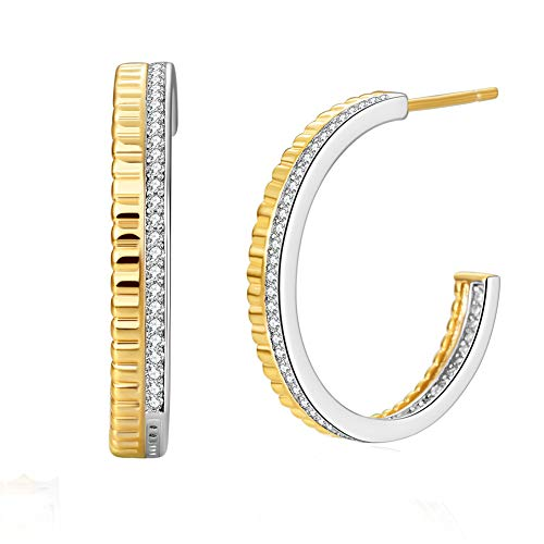 14K Yellow Gold Plated Hoop Earrings for Women, Women's Twisted Two Tone Hoops Earings, Fashion Dainty Loops Earring with 925 Sterling Silver Hypoallergenic Posts CZ Gemstone (Geometric Texture Shape)