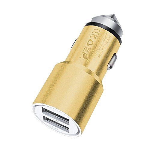 Price comparison product image I-Sonite (Gold) Quick Charge Dual Port USB Full Aluminium Cased Car Charger Bullet Adaptor (3.1AMP/24W) with Break Glass Safety Hammer for Wiko K-Kool