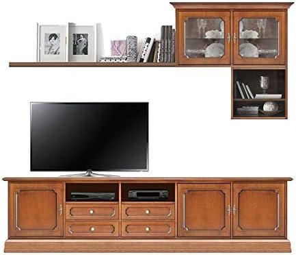 Mueble Pared de TV, Muebles de Madera, Base TV + Vitrina + repisa + Mueble colgado, Mueble Solido y fiable, Estilo clásico contemporáneo, Mueble Artesanal: Amazon.es: Hogar