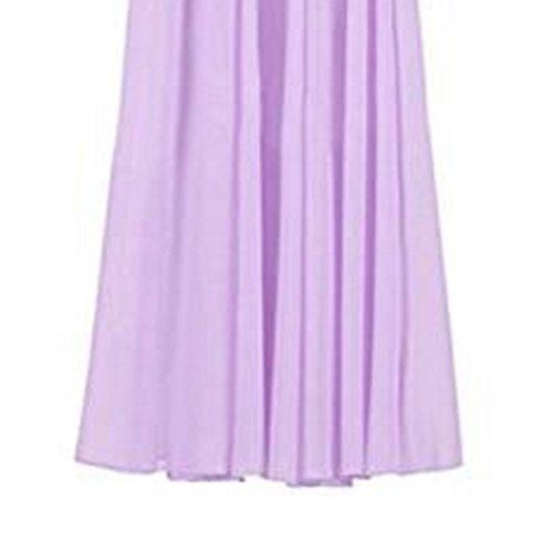 Double Couches Taille Varies Patineuse Taille lastique Soie Violet Plisse Haute Jupe Couleurs FuweiEncore Longue de Jupe Jupe en Mousseline Femme 0zqUaOSY