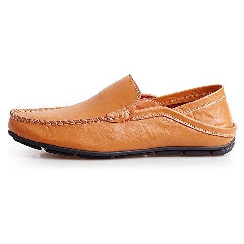 Shenn Herren Mode Schlüpfen Mokassins Beiläufig Leder Halbschuhe Schuhe 20138 Bräunen