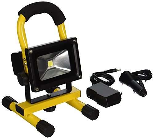 TruePower 30-3002 Portable 10W COB Type Super Bright LED Work Light Rechargeable Li-Ion Flood Light Lamp, Yellow ()