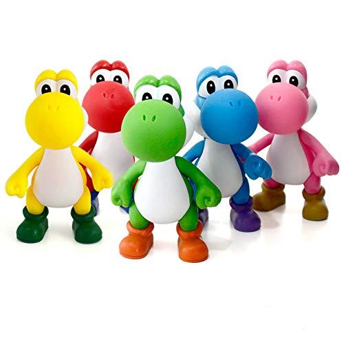 13cm Super Mario Bros Yoshi Dinosaur PVC Action Figurine Toy Cake Toppers 5 Set]()