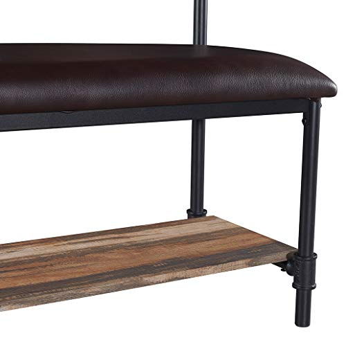Homissue Industrial Pipe Hall Tree with Storage Bench, 2 Shelf Shoe Rack with 3 Hooks for Entryway and Hallway, Shoe Bench with Cushion, Retro Brown - Industrial Pipe Design: constructed with metal pipe frame and MDF board, add this sturdy hall tree to the entryway or hallway to complement a farmhouse aesthetic. It features padded upholstery for the seat that provides you with more comfort, a row of three hooks give you space to hang up coats, hats or other out-the-door essentials. The open shelf at the bottom that has ample space to hold several pairs of shoes, other footwear or any necessary things. A elegant addition to your entry, mudroom, office or apartment. - hall-trees, entryway-furniture-decor, entryway-laundry-room - 41RoqnxhshL -