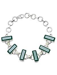 "StarGems(tm) Natural Chrysoprase and Peridot 925 Sterling Silver Bracelet 6 1/4-7 3/4"""