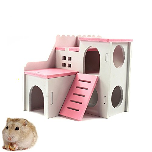 kathson Wooden Hamster House Hideout Hut Hideaway Exercise Play Toys Chews for Dwarf Hamster,Mouse, Rat,Gerbil and Other pet Small - Pink Hamster