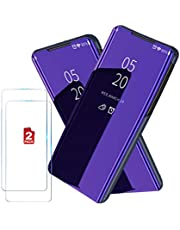 XINKOE Case For Samsung Galaxy A31, Plating mirror Ultra Slim, Stand Cover Anti-Slip Anti-fall bumper Flip Cover + Tempered Glass Screen Protector for Samsung Galaxy A31 (Violet blue)