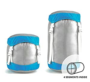 The SegSac Ultra Light 15L Compression Sack, Ripstop Fabric, With 4 Inner Compartments; GET ORGANIZED while Camping, Hiking or Traveling.