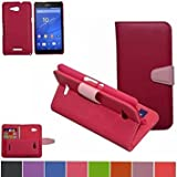 Sony Xperia E4g Case,Mama Mouth [DETACHABLE Feature] Flip Hard Case [Stand View] PU Leather [Wallet Case] With Card Slots Cover For Sony Xperia E4g E2053, Rose Red