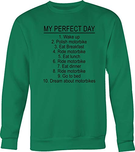 Lifestyle Graphix My Perfect Day Polish & Ride Motorbike Dream About Motorbikes Tshirt Small Kelly Green