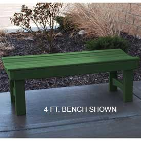 6' Garden Bench, Recycled Plastic, Green (6' Recycled Plastic Table)