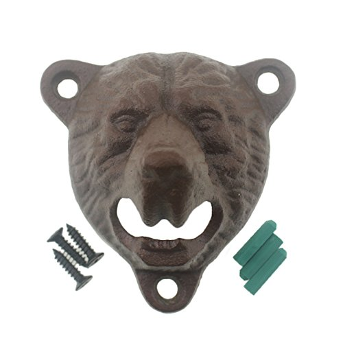 Cast Iron Wall Mount Grizzly Bear Teeth Bite Bottle Opener (Vintage) ()