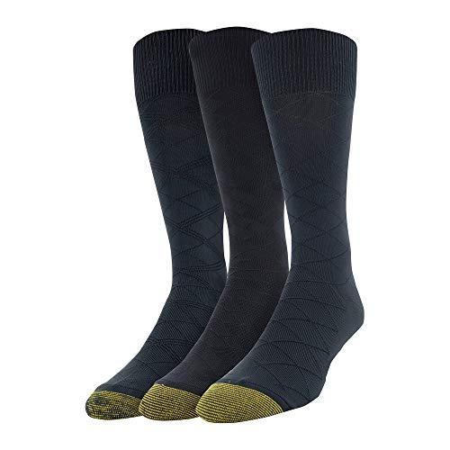 Gold Toe Men's Diamond Micro Nylon Dress Socks, 3 Pairs, Black, Shoe Size: 6-12.5