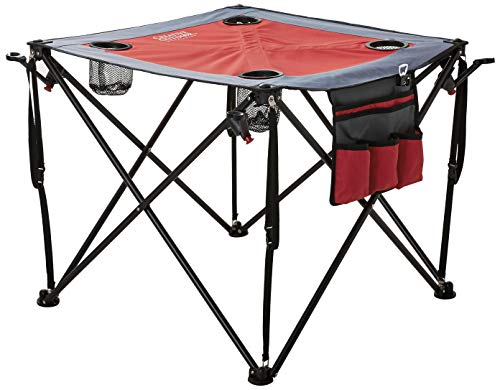 Creative Outdoor Collapsible CROD820117 Folding Wine Table with Cupholders & Wineglass Holders (Gray/Burgundy), one Size,