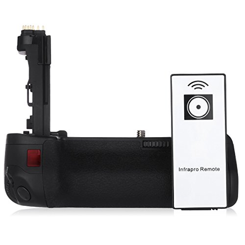 Powerextra BG-E14 Battery Grip for Canon EOS 70D/80D Digital SLR Camera With Infrafed Remote Control - Work With LP-E6 Batteries or 6 AA-size battery