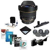 Nikon 14mm f/2.8D ED AF NIKKOR Lens - USA Warranty - Bundle with Flex Lens Shade, Cleaning Kit, Lens Wrap (15x15), LensPen Lens Cleaner, DeluxGear LG-M Lens Guard, Medium, Pro Software Package