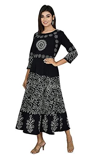 Monique Women's Designer Ethnic Jaipuri Mandala Print Maternity Long Gown Middi Dress (BPBW-BK13 Free Size_) Black