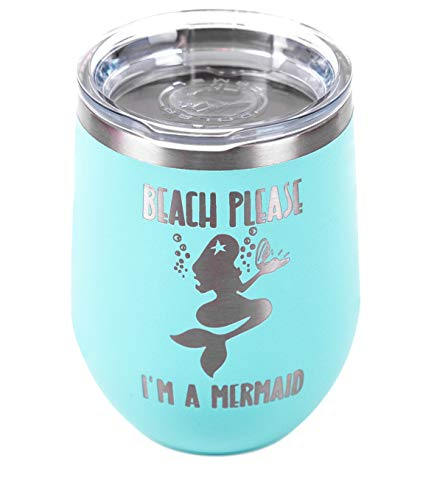 - Accessible Luxuries | 12oz Insulated Stainless Steel Tumbler | Etched with Fun Designs | Great Gift (Mermaid Teal)