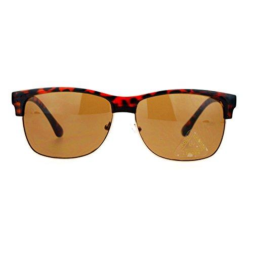 SA106 Mens Hipster Oversized Clubmaster Half Rim Sunglasses Tortoise - Clubmaster Oversized