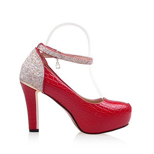 Red Slip Resistant AdeeSu Shoes Womens Assorted Pumps Sequin Urethane SDC03827 nbsp;Color Platform wxYPXSYq