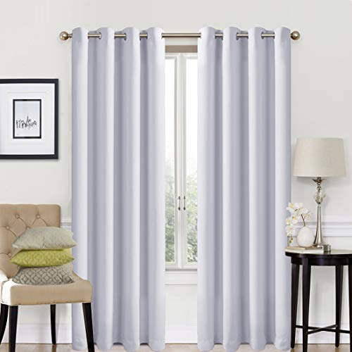 - EASELAND Blackout Curtains 2 Panels Set Room Darkening Drapes Thermal Insulated Solid Grommets Window Treatment Pair for Bedroom, Nursery, Living Room,W52xL84 inch,Greyish White