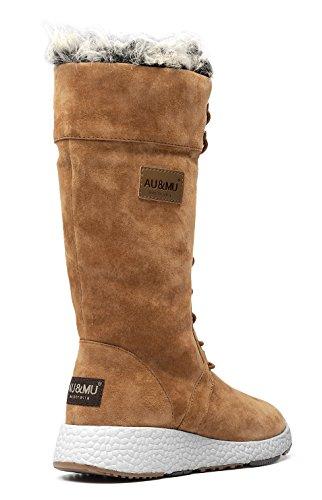 Winter Boots Fur Linede Women Chestnut Aumu OF8wzxqt