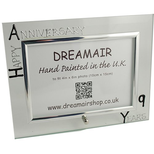 Happy 9th Year (Nine Year) Anniversary Gift Photo Frame (L) (Blk/Sil) Flat