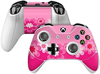 product image for Retro Pink Flowers Skin Decal Compatible with Microsoft Xbox One and One S Controller - Full Cover Wrap for Extra Grip and Protection