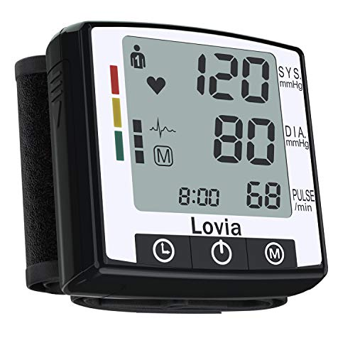 Automatic Wrist Blood Pressure Monitor Watch - Lovia Digital Home Blood Pressure Meter - Manual Blood Pressure Cuff - Clinically Accurate & Fast Reading, 2x120- Reading Memory,Large LCD Display,Black