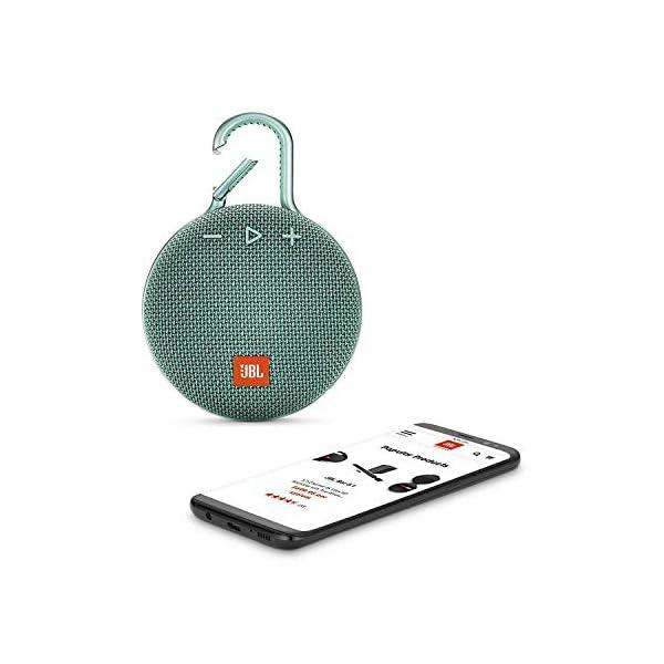 JBL Clip 3 - enceinte Bluetooth Portable avec Mousqueton - Étanchéité Ipx7 - Autonomie 10hrs - Qualité Audio JBL - Turquoise 3
