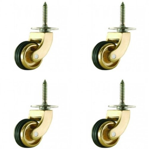 Ross Castors 25mm Brass Castor Wheels with Rubber Wheel, 300kg Load Capacity, Set of 4